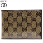 グッチ GUCCI 財布 二つ折り財布 PVCコーティングキャンバス レザー ベージュ ダークブラウン 150403 メンズ セール
