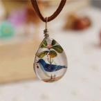 ネックレス 青い鳥 ペンダント スウェード 紐 幸福 幸運アクセサリー レディース チョーカー ペンダント  ウエディング 襟 フォーマル クロス