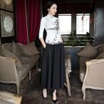 チャイナドレス チャイナ服 レディース ロング チャイナワンピース スカート 旗袍 膝丈 上下 2点セット