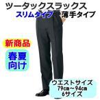 紳士/メンズ ビジネススラックス スリムタイプ ツータックスラックス  春夏タイプ【ゆうパケット不可】 サンキ/sanki