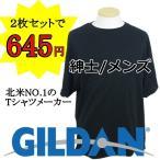 紳士/メンズ GILDAN/ギルダン 無地Tシャツ 2枚組 白/ホワイト 黒/ブラック【ゆうパケット不可】