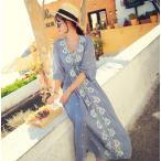 ワンピース ドレス マキシワンピース 可愛い スカート 刺繍 ボヘミア風ワンピース スカートロング丈 旅行 マキシ丈 花柄 春夏