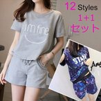 夏の半袖パジャマ/12 styles レジャーセット/家庭服/2点セット 上下セット ルームウェア 部屋着 ナイトウェア 半袖