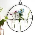 花瓶 一輪挿し ガラス管 フラワーベース 壁掛け 円形 ワイヤーベース アイアン グラスチューブ 試験管 Wall Vase Circle Glass tube