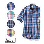 ニッセン 半袖シャツ メンズ M〜10L サラッとしてシワになりにくい ボタンダウンチェック柄半袖カジュアルシャツ画像