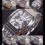 腕時計 メンズ トノー クロノ調デザイン コンビベルト シルバーバンド メタルウォッチ 日本製 ムーブメント