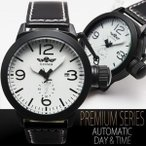 ミリタリー自動巻ホワイトビッグフェイス腕時計 リューズプロテクタ