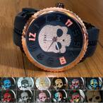 腕時計 スカル 3D ビッグフェイス ウォッチ ラバーベルト ユニセックス ジルコニア ドクロ