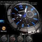 ブラックメタル&マットベゼル腕時計メンズウォッチ