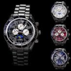 腕時計 メンズ ブラックメタル 重厚感 クロノグラフ ムーンフェイス調 ウォッチ