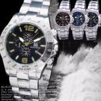 腕時計 メンズ ウォッチ クロノグラフ風 メタルバンド シルバー