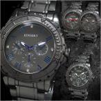腕時計 メンズ メタルバンド アラビア文字盤 ブラック クロノグラフデザイン 合金 ウォッチ クォーツ 生活防水 ファッション