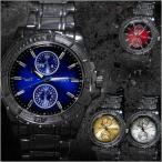 腕時計 メンズ メタルバンド マットベゼル ブラック クロノグラフデザイン 合金 ウォッチ クォーツ 生活防水 ファッション