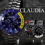 腕時計 メンズ ブラックメタル メタルバンド クロノグラフ調デザイン 合金 ウォッチ クォーツ 生活防水