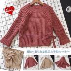 セーター子供服女の子厚手セーター長袖丸襟リボン付きスリット入り純色伸縮性厚手着回し暖かいシンプルカジュアル可愛いプルオ