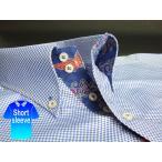 かりゆしウェア結婚式に アロハシャツ 沖縄 メンズ ボタンダウン 半袖 クールビズ Yシャツ ワイシャツ 紅型 白×青 ブルー チェック (msck-bu03-2017)