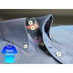 かりゆしウェア結婚式に アロハシャツ 沖縄 メンズ ボタンダウン 半袖 クールビズ Yシャツ ワイシャツ 紅型 紺 ネイビー ドット (msdt-nv01-4817)
