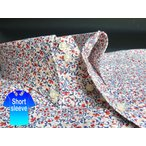 かりゆしウェア結婚式に アロハシャツ 沖縄 メンズ ボタンダウン 半袖 クールビズ Yシャツ ワイシャツ 花柄 白×赤 レッド 花柄 (msfl-wt02-0017)