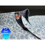 かりゆしウェア結婚式に アロハシャツ 沖縄 メンズ ボタンダウン 半袖 クールビズ Yシャツ ワイシャツ 紅型 白×青 ホワイト ペイズリー (mspe-wt01-4817)