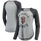 アリッサ ミラノ Touch by Alyssa Milano レディース 長袖Tシャツ San Francisco Giants Line Drive Raglan Long Sleeve T-Shirt - Heathered Gray/Black