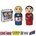 キャプテン アメリカ Captain America フィギュア : Civil War vs. Iron Man Pin Mate Wooden Figure Set of 2 - Convention Exclusive