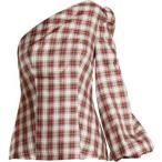 ショッピングトップス ラシル レディース トップス Dorset checked one-shoulder silk-twill top White