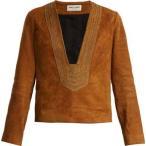 イヴ サンローラン レディース トップス Embroidered suede top Ochre-brown