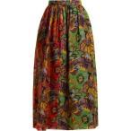 �ǥ�� ���� ��ǥ����� �������� Floral-print silk-gazar skirt Emerald-green and red