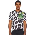 ヴェルサーチ Versus Versace メンズ Tシャツ トップス Checkerboard Leopard T-Shirt Black/White