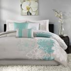 マディソンパーク Madison Park レディース 雑貨 Lola Sateen Cotton Comforter Set - Casual Medallion Floral Design, Aqua