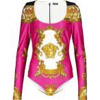 ヴェルサーチ Versace レディース ボディースーツ インナー・下着 Medusa Renaissance printed bodysuit Fuxia+Gold