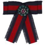 グッチ Gucci レディース ブローチ ジュエリー・アクセサリー Navy & Red Striped Ribbon Brooch