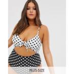 モドクロス ModCloth レディース ワンピース 水着・ビーチウェア Siena cut out swimsuit in black and white spot Black & white