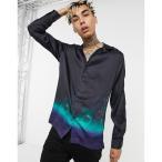 エイソス ASOS DESIGN メンズ シャツ トップス Regular Deep Revere Satin Shirt In Placement Blue Ombre Floral Print ブラック