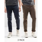 エイソス ASOS メンズ チノパン ボトムス ASOS 2 Pack Slim Chinos In Navy And Brown SAVE 15% Navy/ turkish coffee