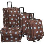 アメリカンフライヤー American Flyer レディース スーツケース・キャリーバッグ バッグ Grande Dots 4-Piece Luggage Set Brown/Blue