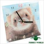 置き時計(フォトフェレット)(フェレットワールドオリジナルデザイン) フェレット 置時計 おき時計 アナログ オシャレ 省スペース