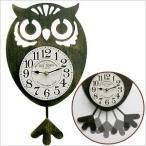 オウル 振り子時計 ブラックゴールドフクロウ/ふくろう/雑貨/掛け時計/掛時計/壁掛け時計/壁掛時計/インテリア/オーナー雑貨