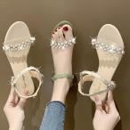 花柄 レディース サンダル ローヒール ビーチサンダル ビジュー カラフル 通気性 美脚 靴 シューズ 疲れない 夏