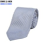 ■SALE 70%OFF■【COMME CA MEN】コムサメン イタリア製 シアサッカーストライプ シルクネクタイ 青『16/12/2』061216(送料無料)