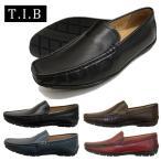 ショッピングTIB ドライビングシューズ ソフト牛革 カジュアルシューズ スリッポン TIB9392 ブラック ネイビー ブラウン 靴
