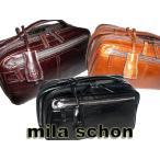 mila schon ミラ・ショ−ン アルテ ダブルファスナーセカンドバッグ ・チョコ・キャメル 196233 ikt02