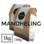 コーヒー豆 マンデリン スマトラ島リントン・二・フタ 1kg 自家焙煎 スペシャルティコーヒー 袋 お得な大容量 送料無料