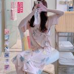 ネグリジェ レディース パジャマ 浴衣風 柄 送料無料 プリント ワンピース 前開き 半袖 夏 ロング ガウン 綿 ナイトウェア 部屋着 ルームウェア