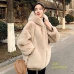 ファーコート ベージュ レディース ブラック 可愛い ミディアム 冬アウター 30代 暖かい 20代 フェイクファーコート フード付き 保温 毛皮コート