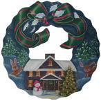 トールペイント図案付白木素材  グリーンリボンのクリスマスリース