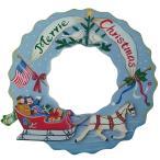 トールペイント ご自分で描く 図案付白木素材 mh-381 クリスマスリース ソリセット