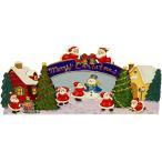 トールペイント図案付白木素材  リトルサンタのクリスマス準備