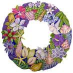 トールペイント図案付白木素材 トロピカルな花と貝のリース