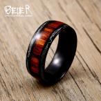 指輪 メンズ 赤 レッド チタン ステンレス ウッドリング 木目